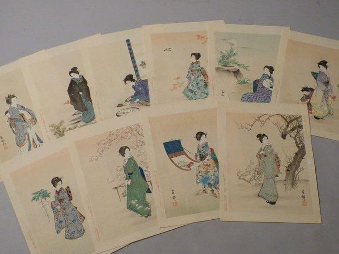 20世紀初 日本今樣美人卷+應舉聚美畫譜 10張