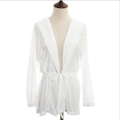 夏季購物優惠: 買5送1@夏日薄款LYCRA系帶防曬外套 NO:01 白色 $70/件