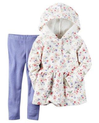 美國童裝名牌Carter's 白底碎花毛巾布連帽外套+紫色打底褲兩件套組 Hoodie & Legging Set 4T 台北市