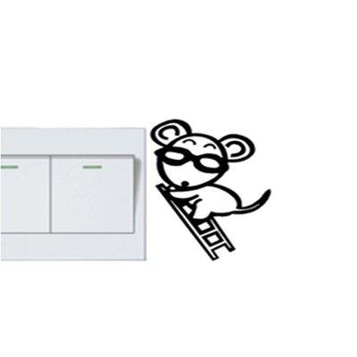 壁貼工場-可超取 小號壁貼 牆貼 貼紙 開關貼- 組合貼 HK383偷電鼠