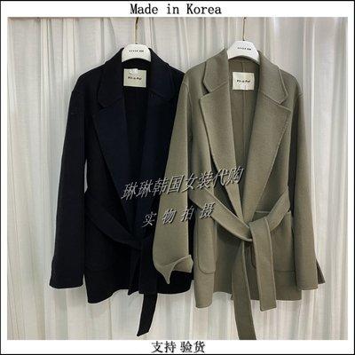 RV韓國鞋代琳琳韓國女裝PIT-A-PAT-I代購進口2021冬季雙面羊絨大衣腰帶外套