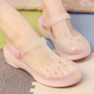 Fashion*洞洞鞋~瑪麗珍變色沙灘鞋 厚底坡跟防滑拖鞋 軟底果凍涼鞋 35-39碼『多色』