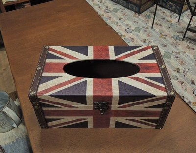 英國國旗面紙盒 仿舊國旗面紙盒 英倫風情面紙收納盒 抽取式衛生紙盒 人造皮革面紙盒硬殼面紙盒 英國旗面紙套 工業風面紙盒