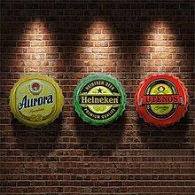 複古鐵藝啤酒瓶蓋壁飾酒吧牆上裝飾品壁掛牆飾創意牆體掛件鐵皮畫(多款可選)
