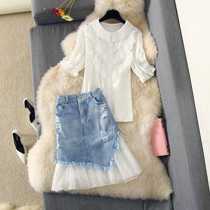 牛仔洋裝 半身裙 A字裙 時尚套裝連衣裙荷葉邊襯衣上衣拼的妝網紗牛仔半身裙