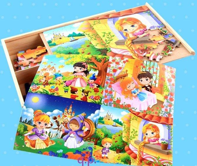 小孩嬰幼兒童益智遊戲木製玩具 童話公主 木質多格子置物收納盒 四合一拼圖40+60+80+100片彩繪圖背面有數字