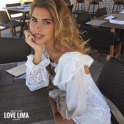 【Love Lima 】FOR LOVE & LEMONS正品純絲亞麻混紡白色荷葉邊長袖典雅約會小洋裝 禮服 美翻