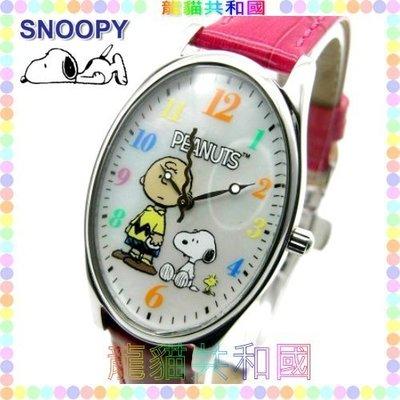 ※龍貓共和國※世界限定100只《日本正版SNOOPY史努比史奴比 糊塗塔克 查理布朗 彩色文字盤 皮革手錶腕錶A紅》禮物