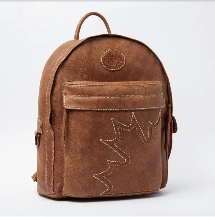 ~☆.•°莎莎~*~~☆~加拿大 ROOTS Trans Canada Student Pack Trib 真皮後背包