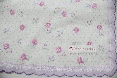 天使熊小鋪~日本帶回PRIVATE LABEL玫瑰花絲巾 紫色花邊領巾 時尚絲領巾~