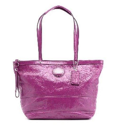 美國百分百【全新正品】Coach 手提包 15142 女包 漆皮 肩背包 方包 紫紅 OL 通勤款 可刷卡 免運費
