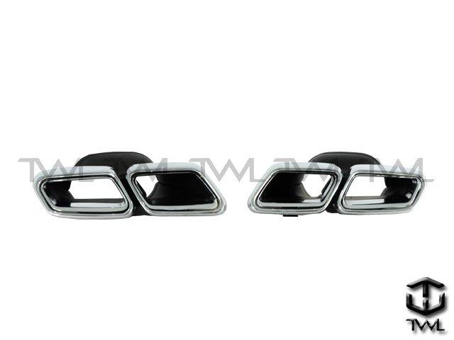 《※台灣之光※》全新BENZ W222改S63 AMG樣式4出雙出方型排氣管白鐵尾管尾飾管