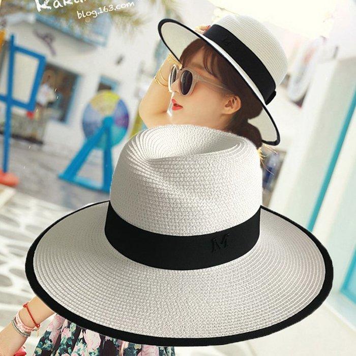 紳士帽夏天大帽檐m草帽禮帽女士夏季正韓太陽帽沙灘遮陽白色爵士帽子潮【FOLLOW ME】
