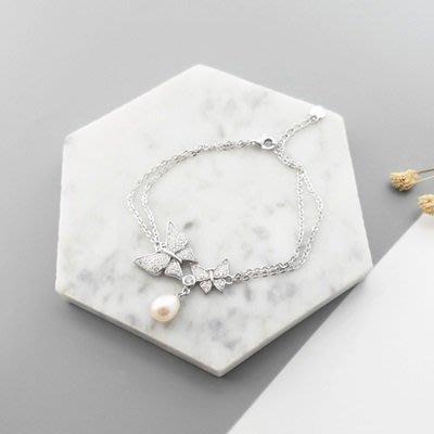 珍珠 手 鍊 925純銀手環-7mm雙蝶鑲鑽情人節母親節禮物女飾品73qn29[獨家進口][巴黎精品]