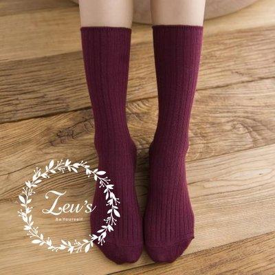 【ZEU'S】韓國學院風簡單百搭中筒襪『 02119404 』【現+預】B