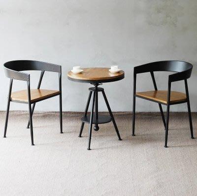 『格倫雅』創制簡約復古咖啡廳桌椅組合休閑吧奶茶實木鐵藝桌椅套件升降桌椅^25684