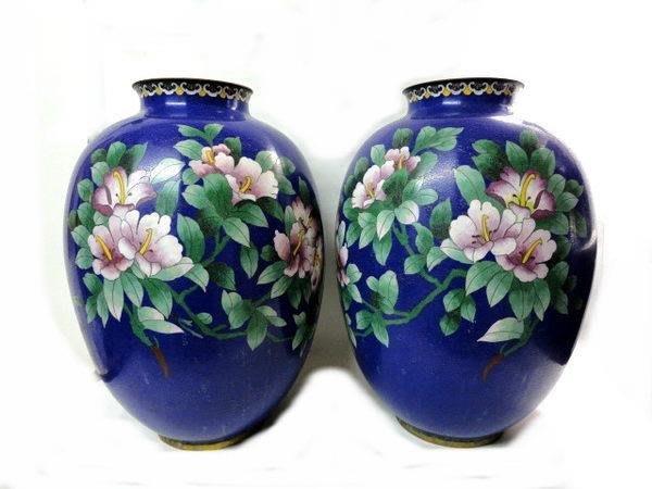 藏雅軒-早期收藏銅掐絲景泰藍-富貴牡丹花瓶對組