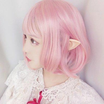 假髮片 仙女化妝精靈假毛時尚淺粉色假發 空氣劉海短直發
