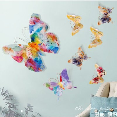 5Cgo 【宅神】含稅會員有優惠526562854456 創意立體鐵藝蝴蝶壁飾背景牆面裝飾品復古壁掛飾創意家居牆壁軟裝飾