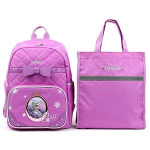 ♀高麗妹♀韓國 Disney FROZEN II 冰雪奇緣2 兒童雙肩護背.透氣書包/背包+提袋組(A款-紫)預購