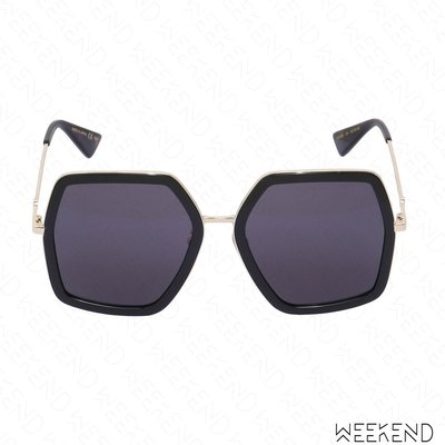 【WEEKEND】 GUCCI Oversized Octagon Bee 蜜蜂 太陽眼鏡 墨鏡 黑色 470458