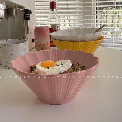 「索伊小鋪」 CHICHI'S INS復古日式純色菊花大碗陶瓷拉面碗喇叭碗好看的湯碗GJ64