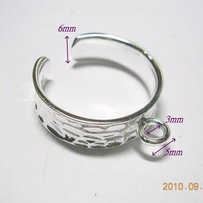 琥珀貓~【925純銀材料配件】戒指~可調式斑紋戒圈~一個