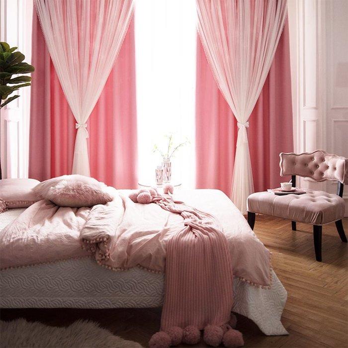 創意 居家裝飾 雙層網紅抖音北歐灰色遮光成品簡約現代韓式蕾絲窗簾臥室客廳定制