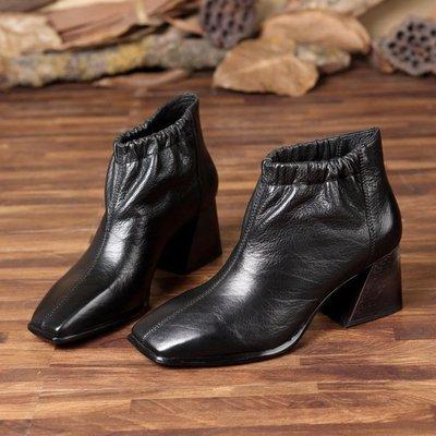 *姑涼家*原創設計套腳女鞋短靴黑色真皮...