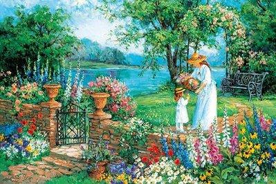 日本進口拼圖 花卉風景畫 Barbara Mock 湖濱早晨 (Appleone, 1000片, 1000-798)