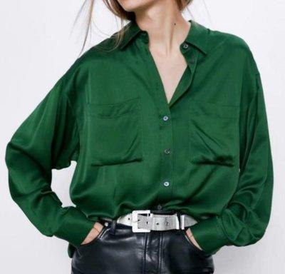 *襯衫*歐美新款翻領長袖雙口袋寬鬆綢緞襯衫上衣S33-38161