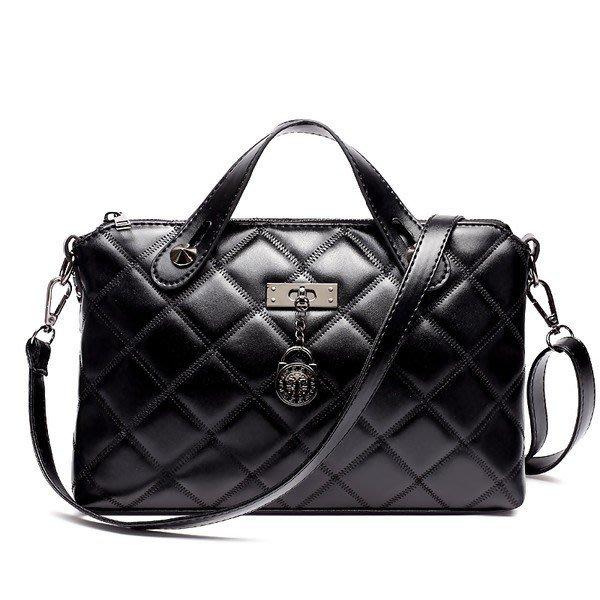 新款夏小包包真皮韓國簡約菱格鏈條包單肩斜挎包