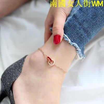 南國女人街WM19K玫瑰金色雙環紅水晶腳鍊女chic簡約氣質個性網紅香港不掉色