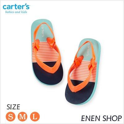 『Enen Shop』@Carters 螢橘條紋款夾腳拖鞋/人字拖/海灘鞋 #FF103|L