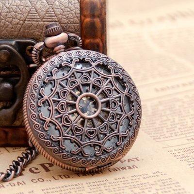 棕色蜘蛛網機械懷錶項鏈古董手錶韓版毛衣鏈時尚時裝表學生掛表