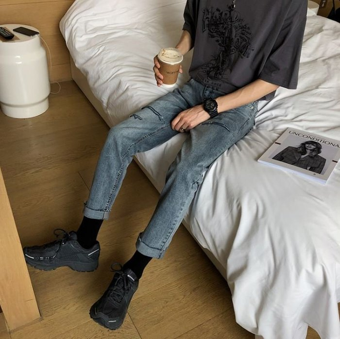 【NoComment】街頭休閒 質感簡約 灰藍水洗刀割破壞直筒修身牛仔褲 Levis Uniqlo