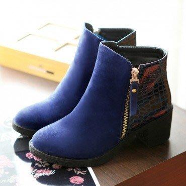 yes99buy加盟-純色側拉鏈短筒女靴