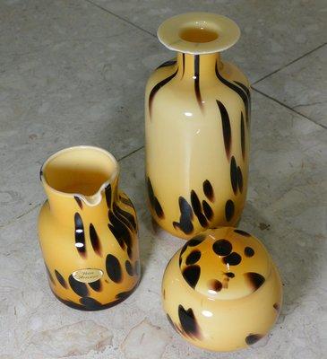 [天地居] 義大利名牌 Vetri Artistici 藝術玻璃花瓶 蓋罐 盛器 三件合拍