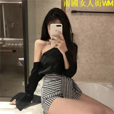 南國女人街WM套裝女春季新款香港性感斜肩不規則襯衣+高腰格子短褲時尚兩件套