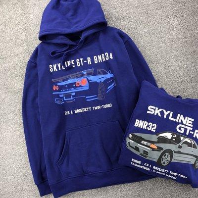 Cover Taiwan 官方直營 Skyline GTR Nissan R32 R34 改裝車 帽Tee 帽T 藍色