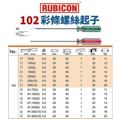 【Suey電子商城】日本RUBICON 102 一字 十字 彩條起子 請詢問規格報價給您