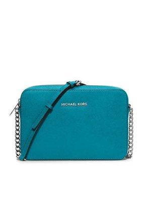 美國名牌Michael Kors Crossbody專櫃款孔雀藍防刮皮革斜背包(大款)現貨在美特價$4280含郵
