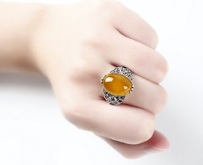 [預購商品]  925泰銀復古黃瑪瑙玉髓 (綠色 紅色 )民族風戒指~抗過敏