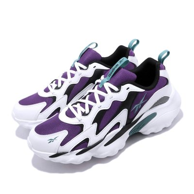 =CodE= REEBOK DMX SERIES 1000 復古皮革慢跑鞋(白紫黑) DV8743 活氣墊 老爹鞋 男
