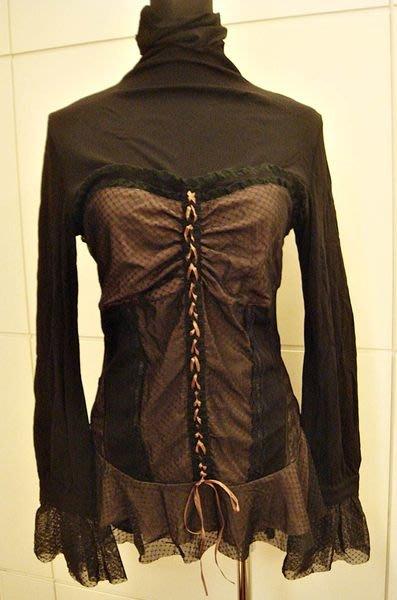 降價大出清!全新 法國品牌 DIYA 黑色網狀宮廷馬甲設計感女裝上衣,低價起標無底價!本商品免運費!
