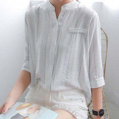 條紋襯衫女夏季 新款學生大碼胖mm百搭寬鬆棉麻七分袖白色上衣