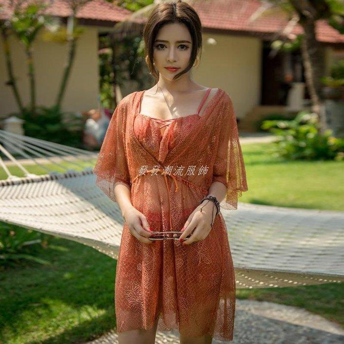 發發潮流服飾惠美娜新款泳衣 時尚性感鋼托款分體裙式三件套泳衣 19038