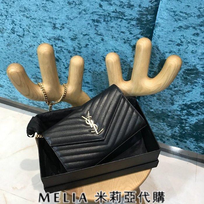 Melia 米莉亞代購 歐洲代購 Saint Laurent YSL 18ss 8月新品 背帶可拆當手拿包 黑色金字