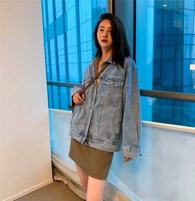 Dreamyshow韓國代購 韓國LUNATIC BLUE秋季新款原宿bf簡約牛仔外套做舊寬松女百搭上衣