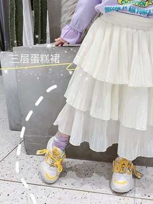 【吉仔媽媽】童裝女童半身裙2020春季新款兒童洋氣蛋糕裙蓬蓬裙寶寶百褶公主裙C59